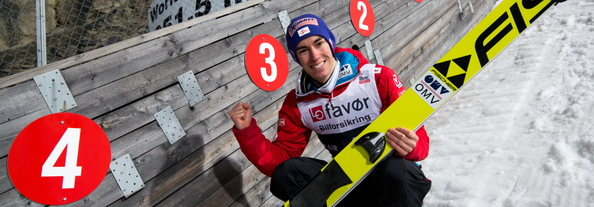 VIKERSUND,NORWAY,18.MAR.17 - NORDIC SKIING, SKI JUMPING - FIS World Cup, Raw Air, ski flying hill. Image shows the rejoicing of Stefan Kraft (AUT). Keywords: world record. Photo: GEPA pictures/ Matic Klansek